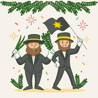 Hand drawn illustration of people celebrating sukkot