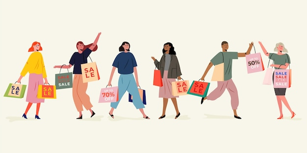 Hand drawn illustration people shopping on sale