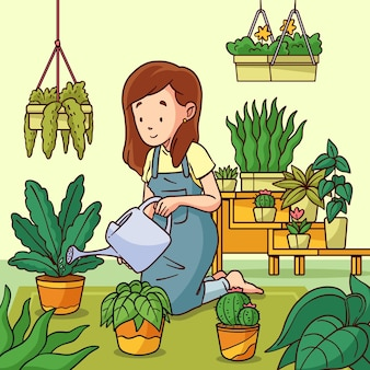 Hand drawn illustration of people taking care of plants
