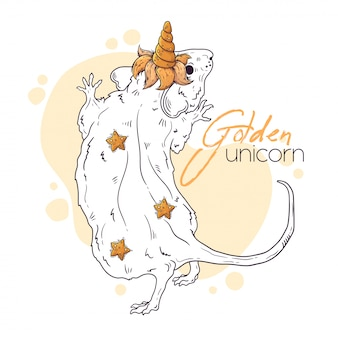 Hand drawn illustration of the rat with a magic unicorn horn.