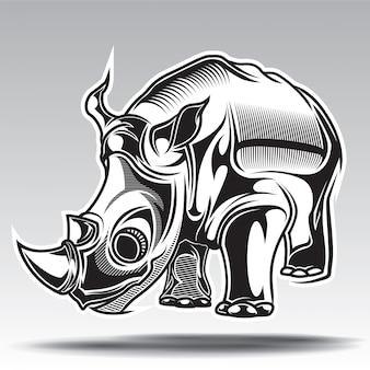 Hand drawn illustration of rhino with decorative elements.