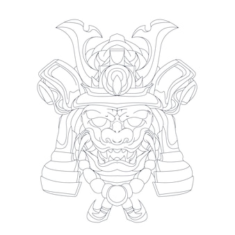 Hand drawn illustration of  samurai ronin