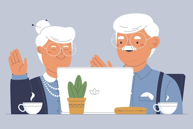 Hand drawn illustration seniors using technology