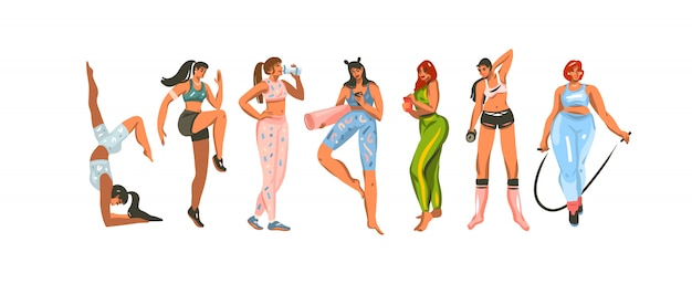 손으로 그린 그림 흰색 배경에 sportwear에 스포츠 피트니스 훈련 여성 번들을 설정합니다.
