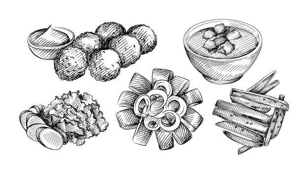 Hand drawn illustration set of dutch cuisine.