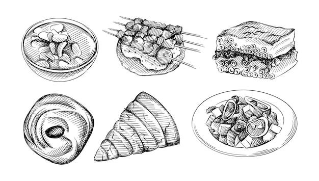 Hand drawn illustration set of greek  cuisine illustration.