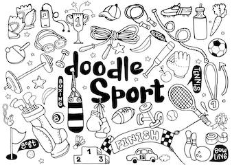 Рисованной иллюстрации набор фитнеса и спорта знак и символ каракули элементы.