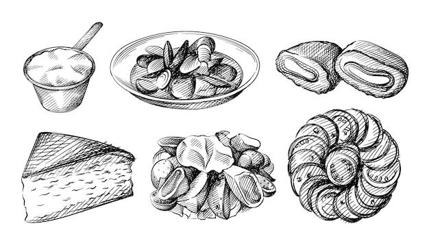 フランス料理の手描きイラストセット。