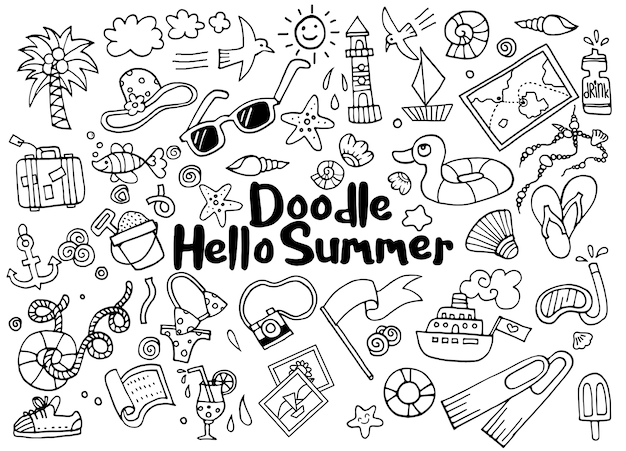 Hand drawn illustration set of summer doodles elements.