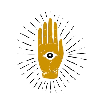 Hand drawn illustration of sunburst, hand, and all seeing eye symbol. eye of providence. masonic symbol.  image