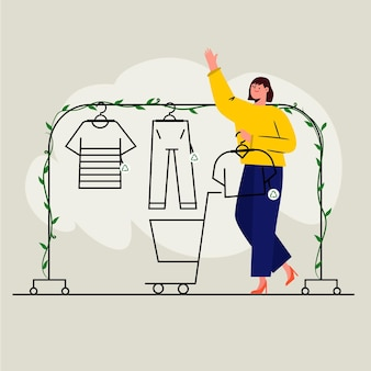 手描きイラスト持続可能なファッションコンセプト