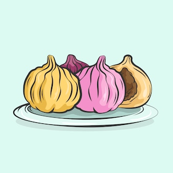 Hand drawn illustration tasty modak