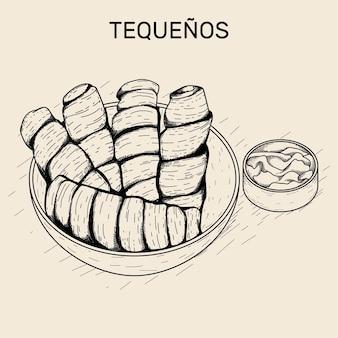 Illustrazione disegnata a mano di tequeños con salsa