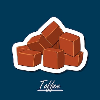 Hand-drawn illustration of toffee. colorful illustration of sweets.