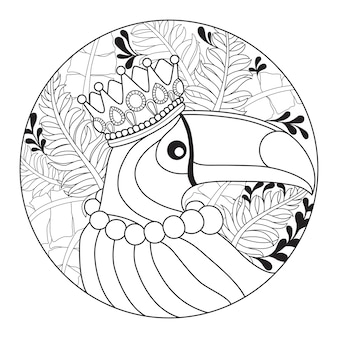 Hand drawn illustration of toucan bird in zentangle style