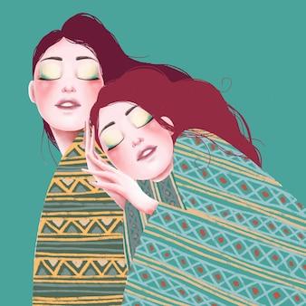 Hand drawn illustration of twins beautiful girls