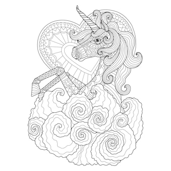 Hand drawn illustration of unicorn in zentangle style