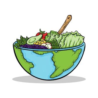 Рисованной иллюстрации vegan всемирный день еды