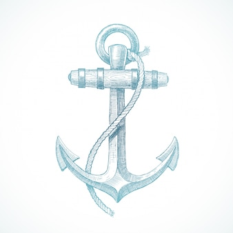 Hand drawn illustration - vintage anchor