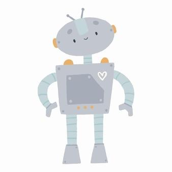 귀여운 로봇이 있는 손으로 그린 그림, 어린이 인쇄