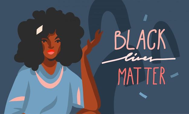 手描きイラストアフロアメリカンビューティーの女性と黒の生活問題分離した背景をレタリング