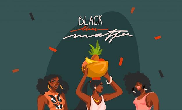 手描きイラストアフロアメリカンビューティーの女性と黒の生活問題分離の背景をレタリング