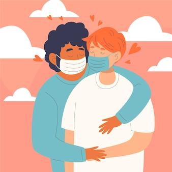 Illustrazione disegnata a mano con coppie che si baciano con maschera covid