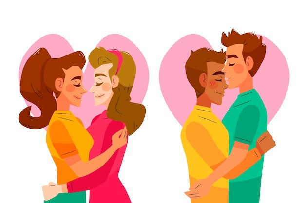 カップルのキスと手描きイラスト