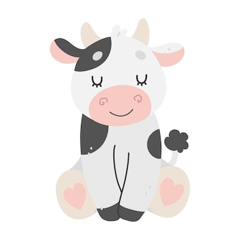 Hand drawn illustration with cute cow