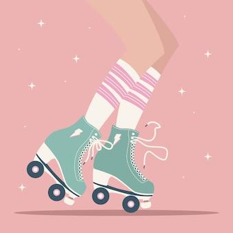 女性の脚とチューブソックスとレトロなローラースケートで描かれたイラストを手します。