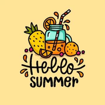 こんにちは夏のレタリングとフルーツジュースの手描きイラスト