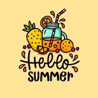Hand drawn illustration with hello summer lettering and fruit juice