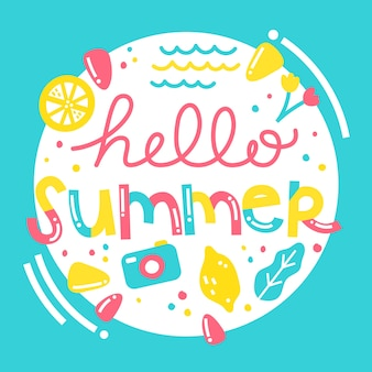 Hand drawn illustration with hello summer lettering