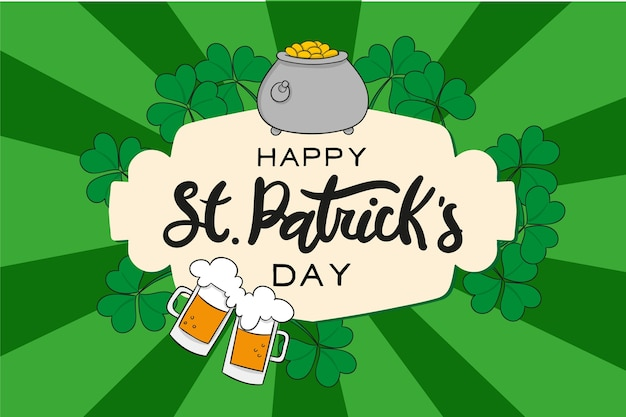 Hand drawn illustration with lettering for st. patrick's day