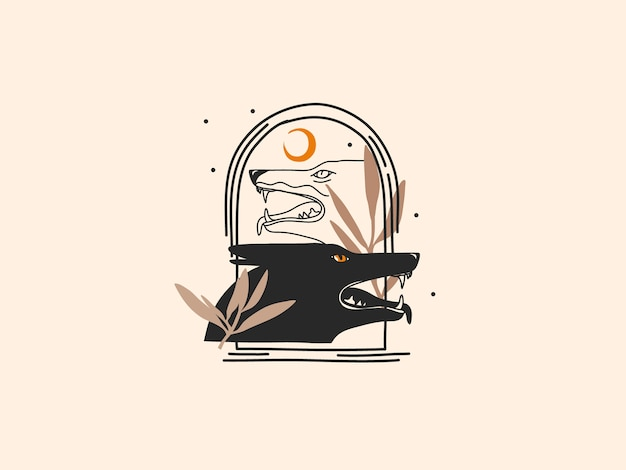 Hand drawn  illustration with logo element ,wolves magic line art in simple style