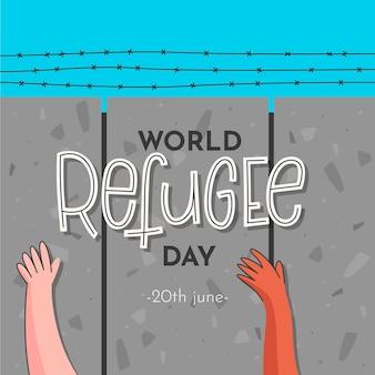 Illustrazione disegnata a mano con evento del giorno del rifugiato