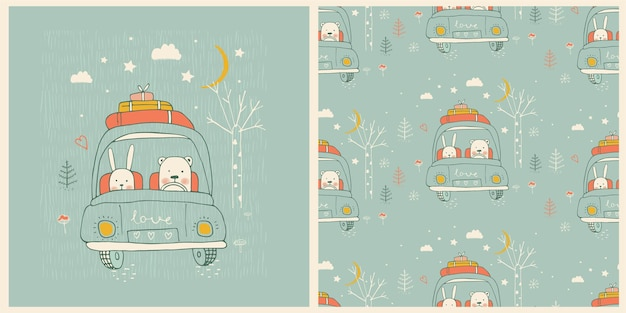 Hand drawn illustration with seamless pattern cute friends bear and bunny baby animals traveling