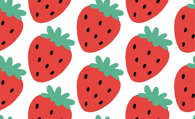 Hand drawn illustration with strawberry. trendy vector seamless pattern in vibrant colors
