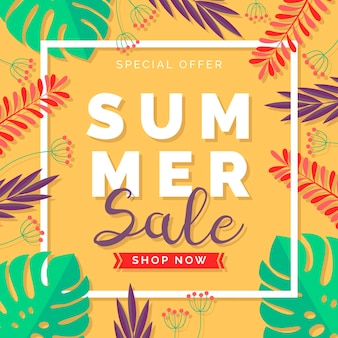 Hand drawn illustration with summer sale offer