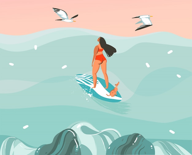 Hand drawn     illustration with a surfer girl surfing with a dog and seagulls  on ocean wave landscape background