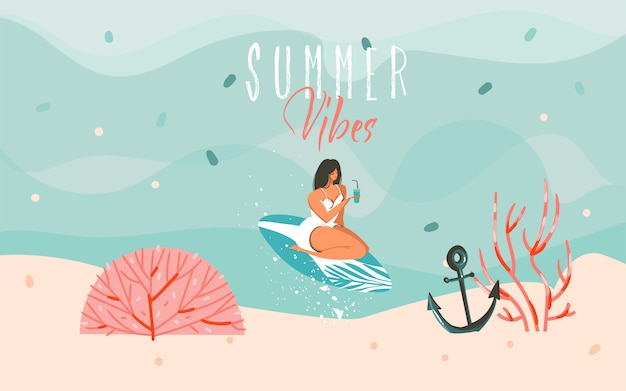 Hand drawn     illustration with a swimming surfer girl in ocean waves landscape and summer vibes typography text  on blue background