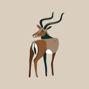 長い角の頭を持つ野生の黒尾ガゼルの手描きイラストが白い背景の上の漫画の動物を振り返る
