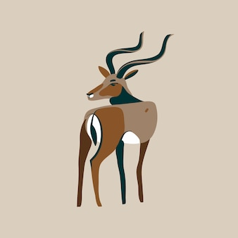 Hand drawn     illustration with  wild black-tailed gazelle with long horns head looks back cartoon animal   on white background