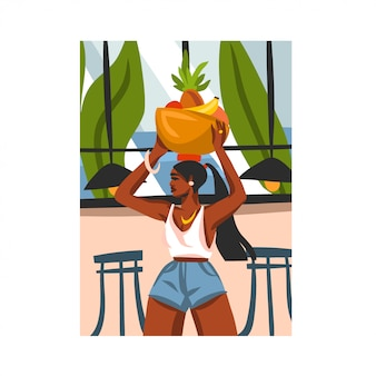 Hand drawn     illustration with young happy black afro  beauty female, carries a basket of fruit on his head in urban cafe  on white background