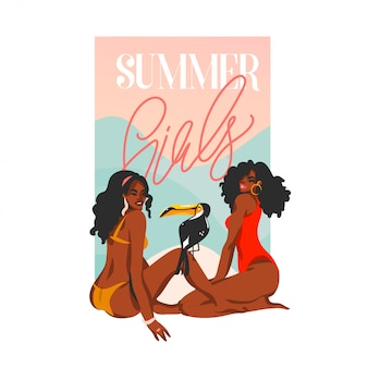 Hand drawn      illustration with young happy black afro  beauty women in swimsuit on sundown view scene sitting on the beach  on white background