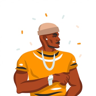 Hand drawn     illustration with young happy black   beauty man, in fashion outfit  on white background.