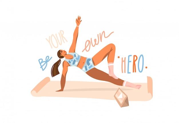 若い幸せな女性と手描きイラスト、マットでフィットネスをやって、白い背景の上のタブレットでオンライントレーニングビデオを見て