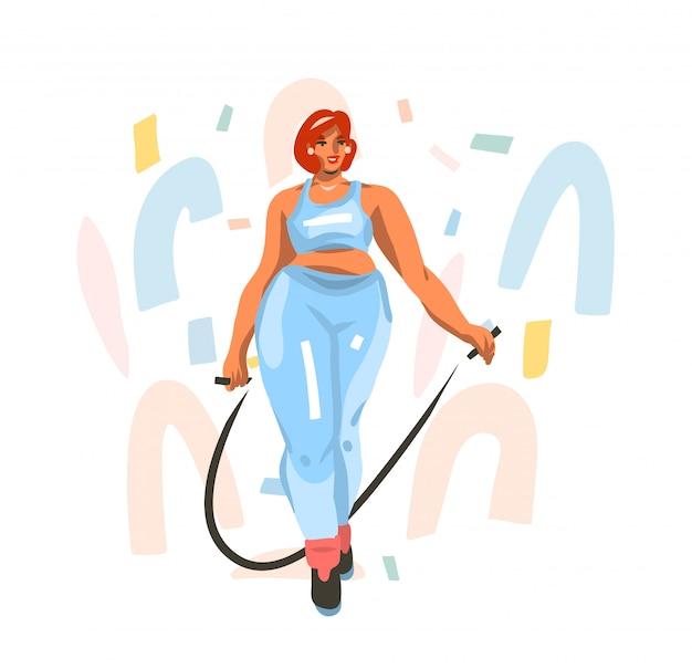 Ручной обращается иллюстрации с молодой счастливой женской подготовки дома, хочет похудеть и прыгает на скакалке в спортивной одежде на белом фоне