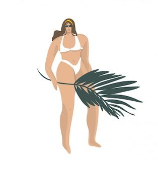 Вручите сделанную иллюстрацию с молодой счастливой положительной улыбающейся женщиной в купальнике на пляже с тропическим отпуском на белом фоне