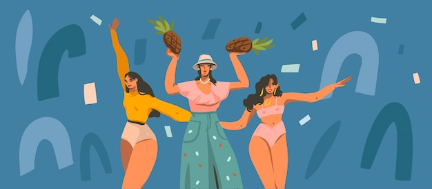 Hand drawn illustration with young smiling females dancing party at home and collage shapes isolated on color background